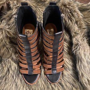 """DV Dolce Vita 4"""" Strap Heel Sandal - Brown & Black"""